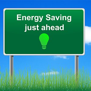 Energy Saving ahead sign on blue sky background